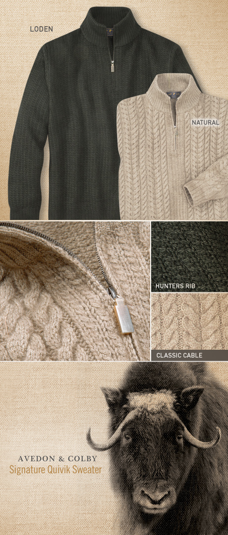 Hand-Knit Muskox Sweater Details