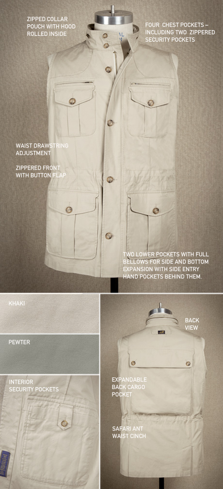 Signature Safari Travel Vest Details